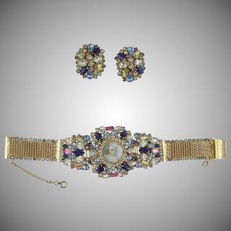 Hobe Jeweled Portrait Bracelet and Earrings