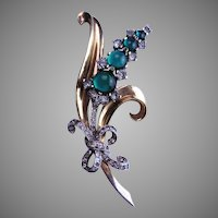 MAZER 2-tone Pin with Green Cabochons
