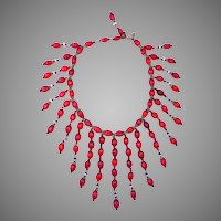 Signed Haskell Red Carved Glass Bead Necklace