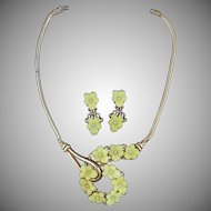 1940's Trifari Molded Glass Necklace and Earrings