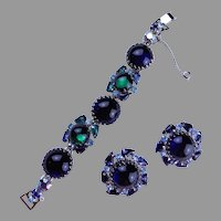 WEISS Bracelet & Earrings with Large Green Blue Glass Cabochons 1940's