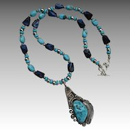 Southwestern Sterling Natural Kingman Turquoise Nugget Necklace