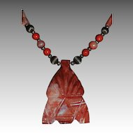 Carved Aztec Mask Coral Jasper Stone Pendant Necklace