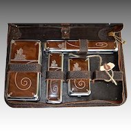 Vintage Western Leather & Chrome Zippered Travel Case