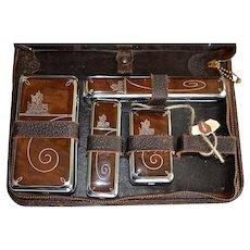 Vintage Western Leather & Chrome Zippered Travel Case