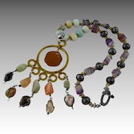 Artisan Natural Caged Gemstone Pendant Necklace