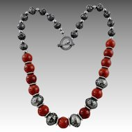 Modernist Artisan Red Sponge Coral Jumbo Bead Necklace
