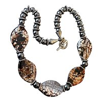 Brecciated Chalcedony Jasper Hematite Artisan Necklace
