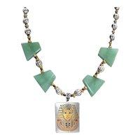 Artisan Mixed Metals Egyptian Revival Aventurine Stone Art Wear Drop Necklace