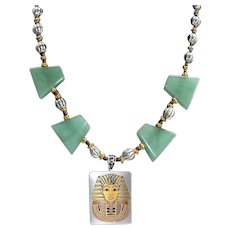 Artisan Mixed Metals Egyptian Revival Aventurine Stone Art Wear Drop Necklace