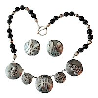 Artisan Embossed Asian Coin Style Charm Necklace Earrings Set Onyx Silver Beads