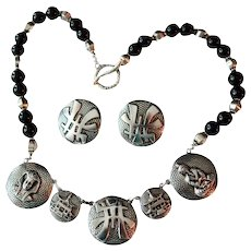 Artisan Onyx Beaded Faux Coin Charm Necklace Earrings Set