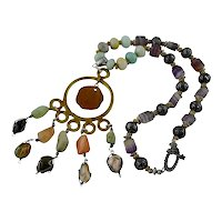 Artisan Caged Agate Polished Tumbled Stone Pendant Necklace