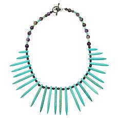 Artisan Contemporary Turquoise Spike Fringe Art Wear Amethyst Necklace