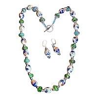 Oriental Artisan Art Wear Painted Porcelain Beaded Necklace Earrings