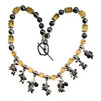 Artisan Art Wear Beaded Fringe Necklace Sterling, Lucite, Crystal Clusters
