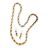Artisan Art Wear Cut Crystal Faux Baroque Pearl Single Strand Necklace Set