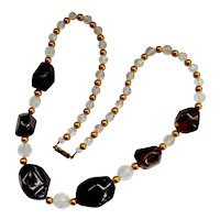Chunky Polished Rock Crystal Topaz Crystal Art Wear Necklace