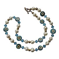 Murano Crystal Beaded Art Wear Bead Necklace Handblown Fashion Design
