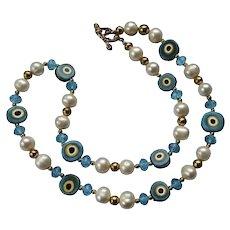Murano Crystal Beaded Art Wear Bead Necklace Handblown Fashion Design