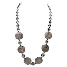 Artisan Moss Agate Coin Art Wear Swarovski Crystal Beaded Necklace