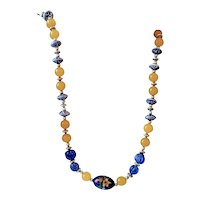 Japanese Porcelain Artisan Handpainted Crystal Porcelain Beaded Necklace