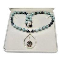 Modernist Artisan Art Wear Sterling Silver Pendulum Pendant Necklace Matrix Beads