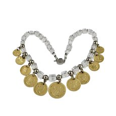 Artisan Art Wear Deco Style Clear Cut Crystal Cube Coin Pendant Necklace