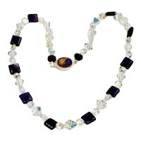 Aura Borelais Crystal And Amethyst Bead Gemstone Art Wear Necklace