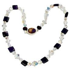Aura Borelais Crystal And Amethyst Bead Gemstone Art Wear Necklace