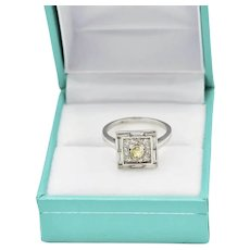 Art Deco Platinum  Old European Mine Cut Diamond 0.67 TCW Engagement Ring