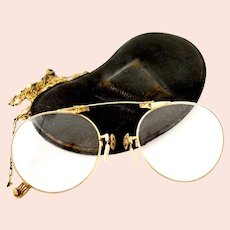 Antique Early Victorian Pince-nes Armless Optical Lenses 14K Gold