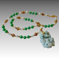 PI XIU Dragon Apple Jadeite Pendant Necklace