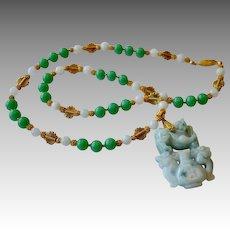 PI XIU Dragon Apple Jadeite Pendant Necklace