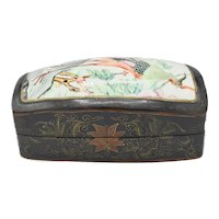 Chinoiserie Decorative Peacock Chinese Lacquer / Porcelain Inset Shared Lid