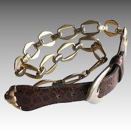 High Fashion Dior Leather Link Chain Belt
