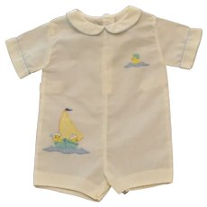 Boys Infants (M) White Madeira Handmade Sailor Romper Suit