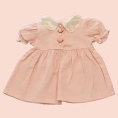 Children's Infant Girls 12-Mos Pink Cotton Dress Satin Collar Roses
