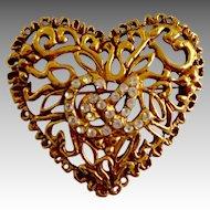 """Designer Christian Lacroix 18K Gold Plate Crystal Vine """"Heart"""" Brooch"""