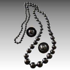 Opera Length Hematite (Black Diamonds) Beaded Necklace & Earrings in Sterling