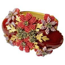 Stanley Hagler NY Glass Beaded Art Wear Medallion Cuff Bracelet