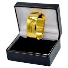 Vintage Italian Bracelet High Polished  14K Gold Plate Cuff Signed