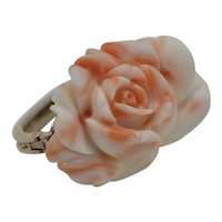 Natural Pink Angel Skin Coral 12K Plate Scarf Clip Holder