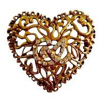 """Designer Christian Lacroix 18K Gold Plate Crystal Vine """"Heart"""" Brooch Signed"""