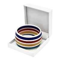 Vibrant Wide Lucite Rainbow Stripe Bangle Bracelet