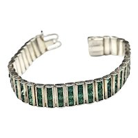 Leach & Miller Art Deco 30's Faceted Rhinestone Bar Link Bracelet
