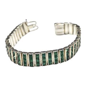 Leach & Miller Art Deco 30's Faceted Rhinestone Bar Link Bracelet