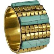 Chunky Egyptian Revival Brass Celluloid Bangle Bracelet