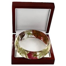 Springtime Wildflowers Clear Resin Bangle Bracelet