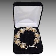 Geometric Designer Sterling Silver Chunky Link Bracelet